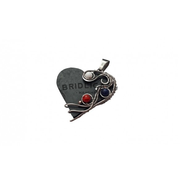 Slate pendant with beads - colours of Slovakia
