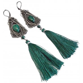 "Slate earrings with mineral ""malachite"""