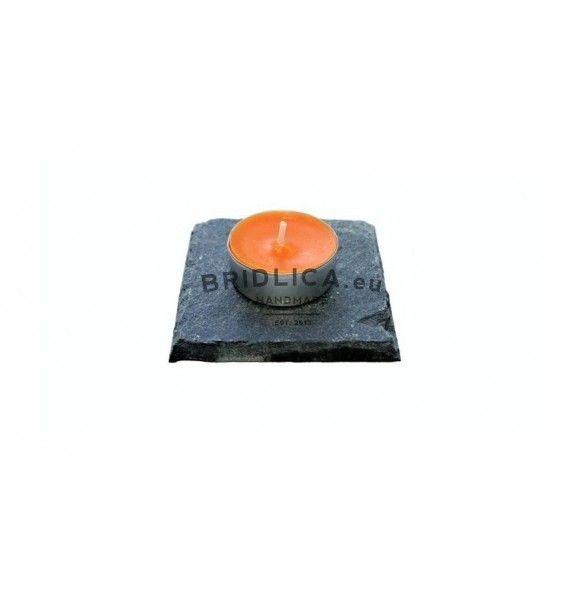 Slate Mat For Tea Candle Or Standard Candle 1 piece, 10x10 cm - Home Accessories