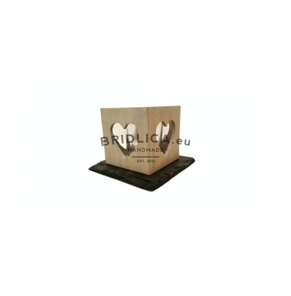 Slate Mat For Wood Candlestick, 1 piece, 11,5x11,5 cm - Home Accessories