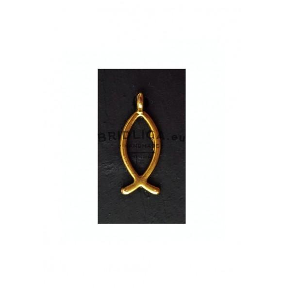 Magnetka z břidlice MINI - zlatá ryba 4x2,5 cm - Křesťanský motiv