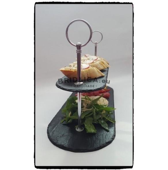 2 - Tier Atypical Slate Cake Stand 39x15x23 cm - Cake Stands