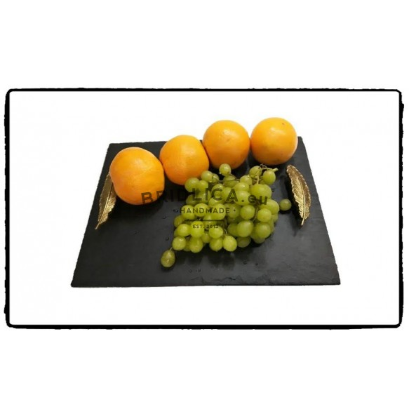 Rectangle Slate Platter With Gilt Steel Handle 35x25 cm, 50x30 cm - Platters