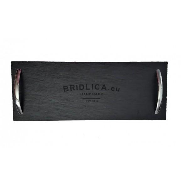 Podnos obdĺžnikový z bridlice so striebornými držadlami 50x18 cm - Podnosy