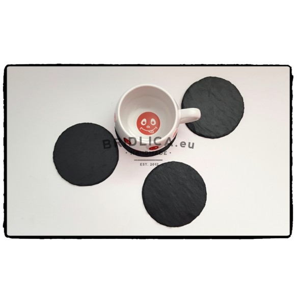 Slate Saucer, set 4 pieces, Ø 8 cm, Ø 11 cm - Accessories for Kitchen and Dining room