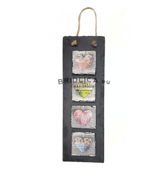 Hanging slate decoration 10x30 cm - Set of Hearts