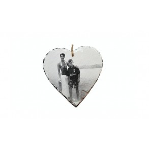 Photo on slate - heart 1 piece, 12x12 cm, 14x14 cm