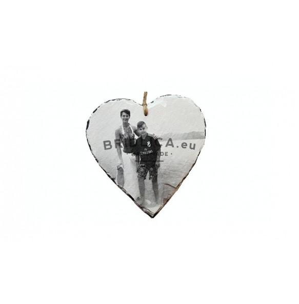 Fotografia na bridlici - srdce 1 ks, 12x12 cm, 14x14 cm - Fotografia na bridlici