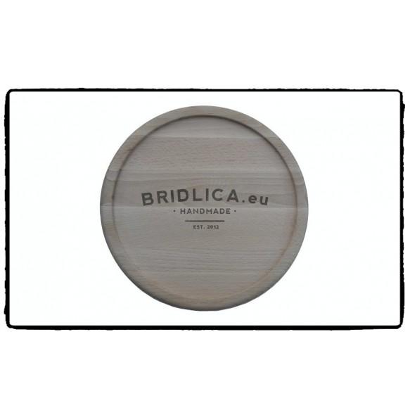 Podnos z bukového dreva s kruhovou bridlicovou doskou Ø 33 cm - NOVINKY