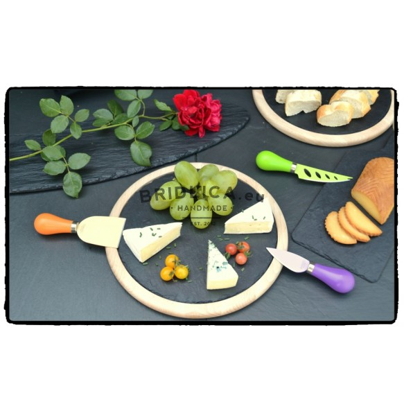 Rounded Slate Platter With Beech Wood Ø 25 cm - Platters
