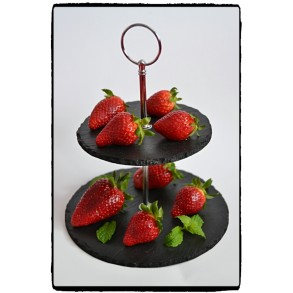 2 - Tier Rounded Slate Cake Stand MINI 20x20x15 cm