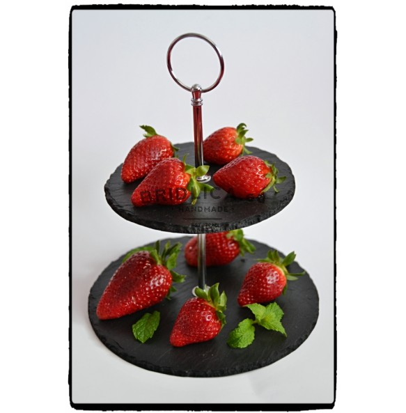 2 - Tier Rounded Slate Cake Stand MINI 20x20x15 cm - Cake Stands