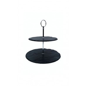 2 - Tier Rounded Slate Cake Stand 24x24x23 cm