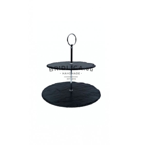 2 - Tier Rounded Slate Cake Stand 24x24x23 cm - Cake Stands