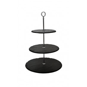 3 - Tier Rounded Slate Cake Stand 25x25x35 cm