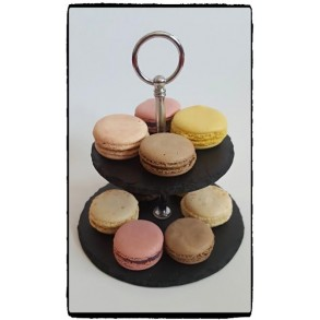 2 - Tier Rounded Slate Cake Stand EXTRA MINI 14x14x14 cm