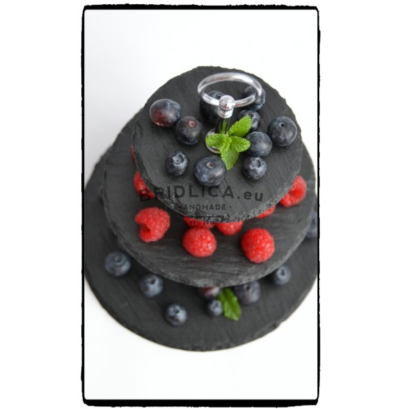 3 - Tier Rounded Slate Cake Stand EXTRA MINI 18x18x23 cm - Cake Stands