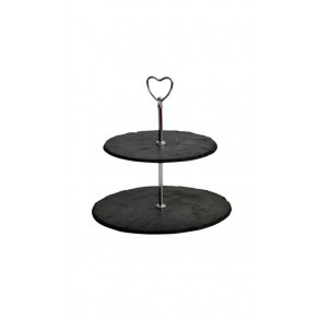 2 - Tier Rounded Slate Cake Stand - hearth holder 24x24x23 cm