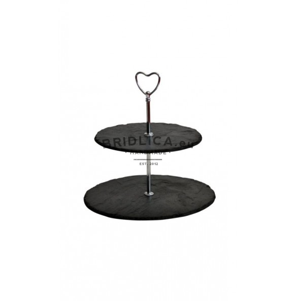 2 - Tier Rounded Slate Cake Stand - hearth holder 24x24x23 cm - Cake Stands
