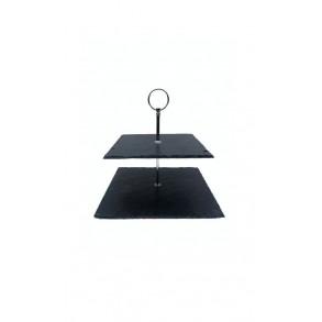 2 - Tier Square Slate Cake Stand 24x24x23 cm
