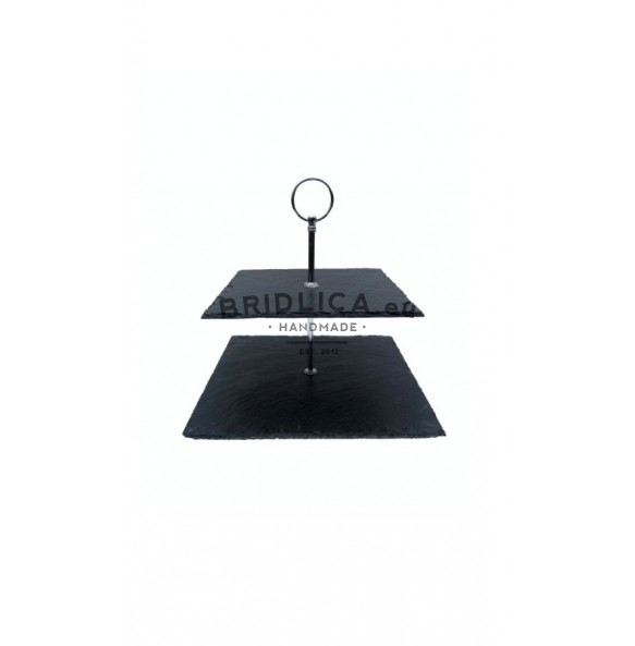 2 - Tier Square Slate Cake Stand 24x24x23 cm - Cake Stands