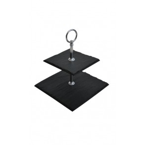 2 - Tier Square Slate Cake Stand EXTRA MINI 14x14x14 cm