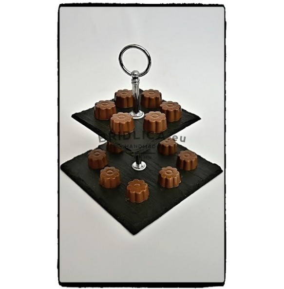 2 - Tier Square Slate Cake Stand EXTRA MINI 14x14x14 cm - Cake Stands