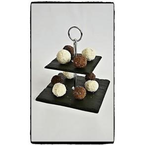 2 - Tier Square Slate Cake Stand EXTRA MINI 14x14x14 cm