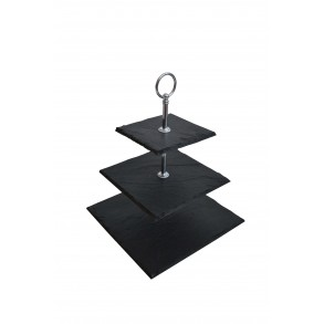 3 - Tier Square Slate Cake Stand EXTRA MINI 18x18x23 cm