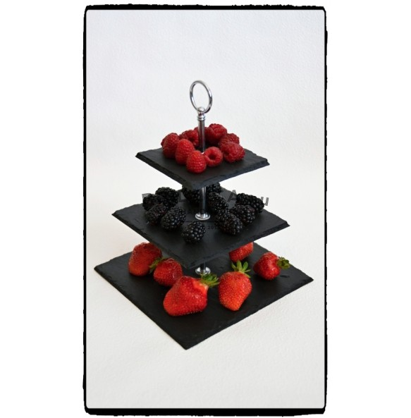 3 - Tier Square Slate Cake Stand EXTRA MINI 18x18x23 cm - Cake Stands