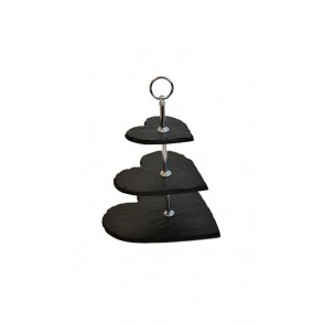 3 - Tier Hearth Slate Cake Stand MINI 18x18x23 cm
