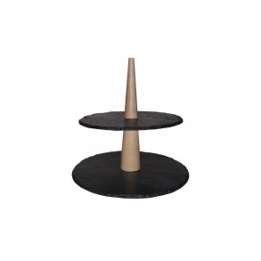 2 - Tier Rounded Slate Cake Stand Combined With Wood 20x20x22 cm