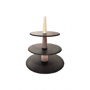 3 - Tier Rounded Slate Cake Stand Combined With Wood 28x28x33 cm