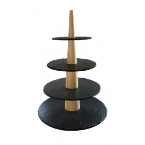 4 - Tier Rounded Slate Cake Stand Combined With Wood 28x28x43 cm