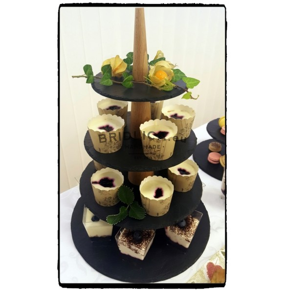 4 - Tier Rounded Slate Cake Stand Combined With Wood 28x28x43 cm - Cake Stands