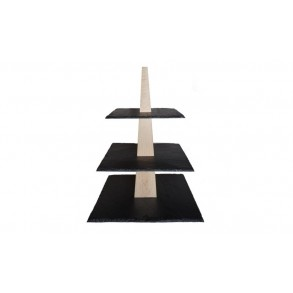3 - Tier Square Slate Cake Stand Combined With Wood 28x28x33 cm