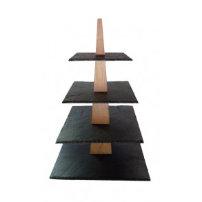 4 - Tier Square Slate Cake Stand Combined With Wood 28x28x43 cm
