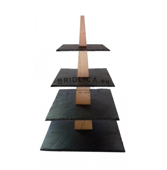 4 - Tier Square Slate Cake Stand Combined With Wood 28x28x43 cm - Cake Stands