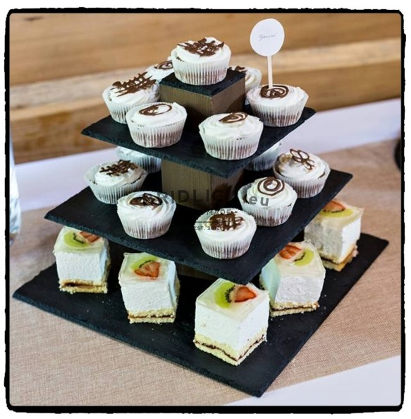 3 - Tier Square Slate Cake Stand CUBICON Combined With Wood 36x36x27 cm - Cake Stands
