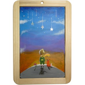 "Painting on the slate writing school board ""THE LITTLE PRINCE"" I."