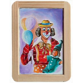"Painting on the slate writing school board ""CLOWN"""