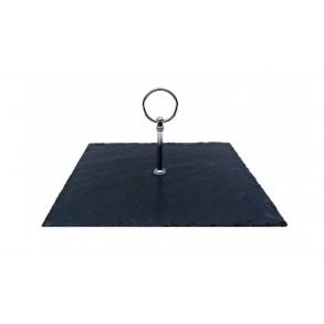 Podnos štvorcový z bridlice s nerezovým držadlom 24x24 cm