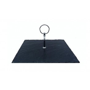 Podnos čtvercový z břidlice s nerezovým držadlem 24x24 cm