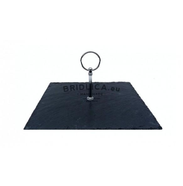 Podnos štvorcový z bridlice s nerezovým držadlom 24x24 cm - Podnosy