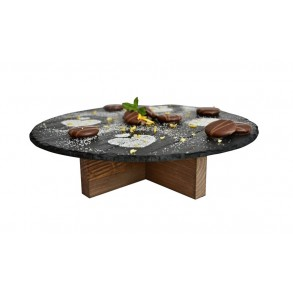 Serving Slate Platter With Wooden Stand Ø 24 cm