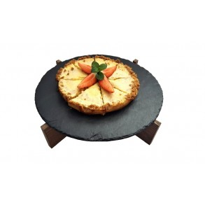 Serving Slate Platter With Wooden Stand Ø 27 cm