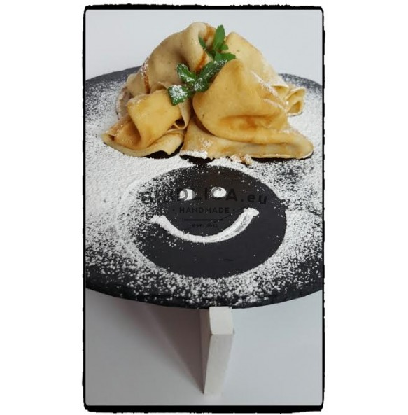 Serving Slate Platter With Wooden Stand Ø 27 cm - Platters