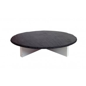 Serving Slate Platter With Wooden Stand Ø 36 cm