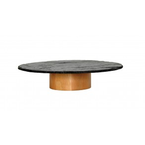 Serving Slate Platter With Wooden Circular Stand Ø 30 cm