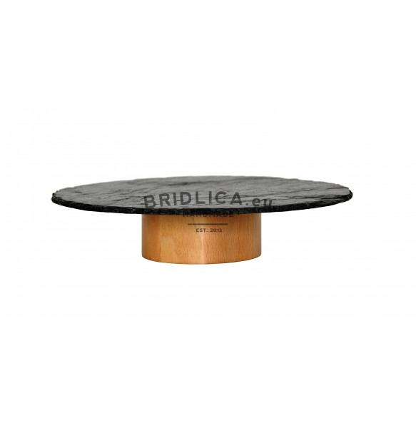 Serving Slate Platter With Wooden Circular Stand Ø 30 cm - NEW PRODUCTS